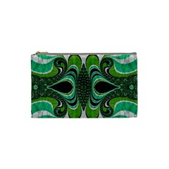 Fractal Art Green Pattern Design Cosmetic Bag (Small)