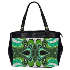 Fractal Art Green Pattern Design Office Handbags (2 Sides)