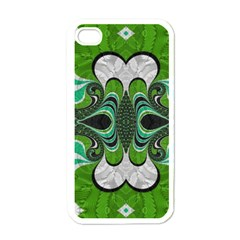 Fractal Art Green Pattern Design Apple Iphone 4 Case (white)