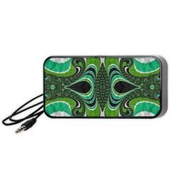 Fractal Art Green Pattern Design Portable Speaker (black)