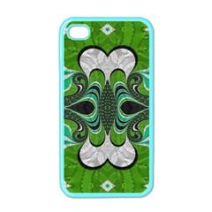 Fractal Art Green Pattern Design Apple iPhone 4 Case (Color)