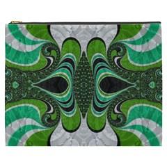 Fractal Art Green Pattern Design Cosmetic Bag (xxxl)