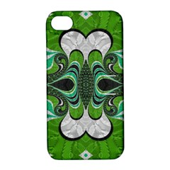 Fractal Art Green Pattern Design Apple Iphone 4/4s Hardshell Case With Stand