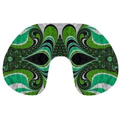 Fractal Art Green Pattern Design Travel Neck Pillows