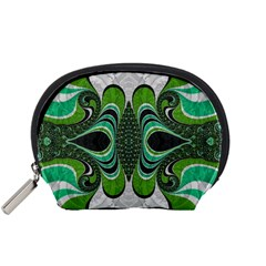 Fractal Art Green Pattern Design Accessory Pouches (Small)