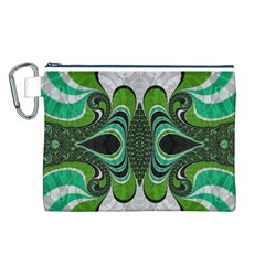 Fractal Art Green Pattern Design Canvas Cosmetic Bag (l)