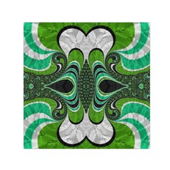 Fractal Art Green Pattern Design Small Satin Scarf (square)