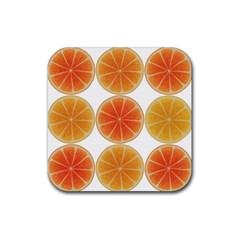 Orange Discs Orange Slices Fruit Rubber Square Coaster (4 Pack)