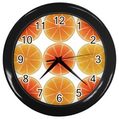 Orange Discs Orange Slices Fruit Wall Clocks (black)