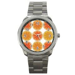 Orange Discs Orange Slices Fruit Sport Metal Watch