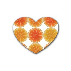 Orange Discs Orange Slices Fruit Heart Coaster (4 Pack)