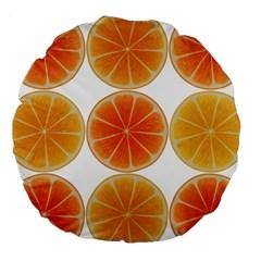 Orange Discs Orange Slices Fruit Large 18  Premium Round Cushions