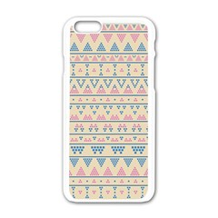 blue and pink tribal pattern Apple iPhone 6/6S White Enamel Case