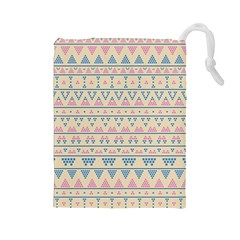 blue and pink tribal pattern Drawstring Pouches (Large)