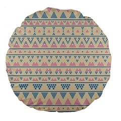 blue and pink tribal pattern Large 18  Premium Flano Round Cushions