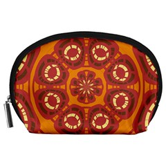 Dark Red Abstract Accessory Pouches (Large)