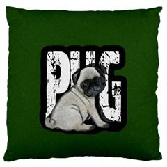 Pug Large Flano Cushion Case (Two Sides)