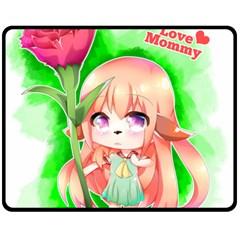 Happy Mother s Day Furry Girl Fleece Blanket (Medium)