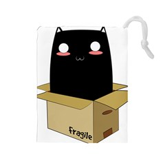 Black Cat in a Box Drawstring Pouches (Large)