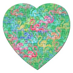 Flamingo Pattern Jigsaw Puzzle (heart)