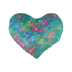 Flamingo pattern Standard 16  Premium Heart Shape Cushions