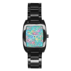 Flamingo pattern Stainless Steel Barrel Watch