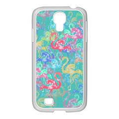 Flamingo pattern Samsung GALAXY S4 I9500/ I9505 Case (White)