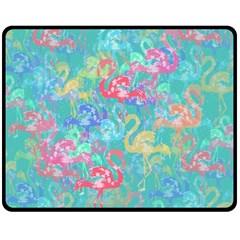 Flamingo pattern Double Sided Fleece Blanket (Medium)