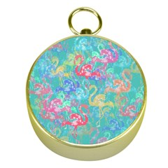 Flamingo pattern Gold Compasses