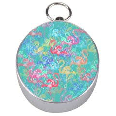 Flamingo pattern Silver Compasses