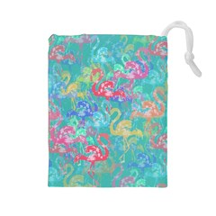 Flamingo pattern Drawstring Pouches (Large)