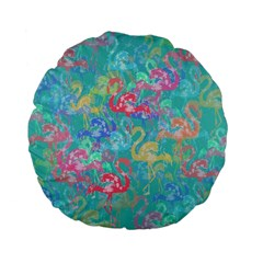 Flamingo pattern Standard 15  Premium Flano Round Cushions