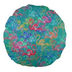 Flamingo pattern Large 18  Premium Flano Round Cushions