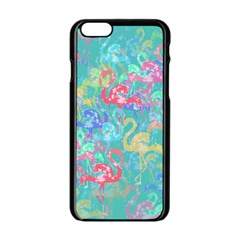 Flamingo pattern Apple iPhone 6/6S Black Enamel Case