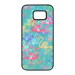 Flamingo pattern Samsung Galaxy S7 edge Black Seamless Case