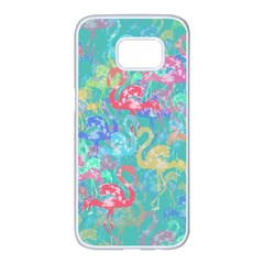 Flamingo pattern Samsung Galaxy S7 edge White Seamless Case