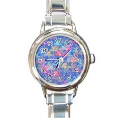 Flamingo pattern Round Italian Charm Watch