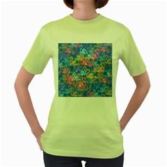 Flamingo pattern Women s Green T-Shirt