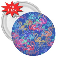 Flamingo pattern 3  Buttons (10 pack)