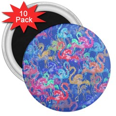 Flamingo pattern 3  Magnets (10 pack)