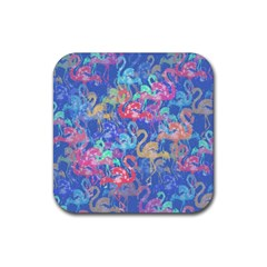 Flamingo pattern Rubber Square Coaster (4 pack)