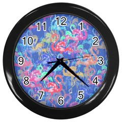 Flamingo pattern Wall Clocks (Black)