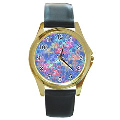 Flamingo pattern Round Gold Metal Watch