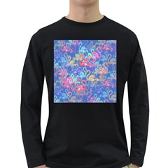 Flamingo pattern Long Sleeve Dark T-Shirts