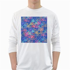Flamingo pattern White Long Sleeve T-Shirts