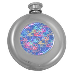 Flamingo pattern Round Hip Flask (5 oz)