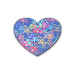 Flamingo pattern Rubber Coaster (Heart)