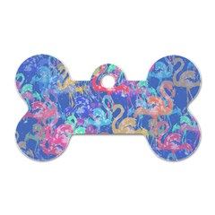 Flamingo pattern Dog Tag Bone (One Side)