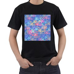 Flamingo pattern Men s T-Shirt (Black)