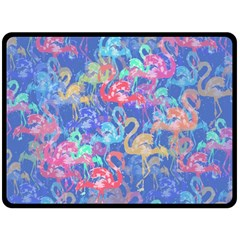 Flamingo pattern Fleece Blanket (Large)